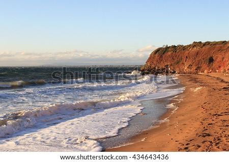 Sea waves, Mornington Peninsula, Port Phillip Bay, Australia - stock photo