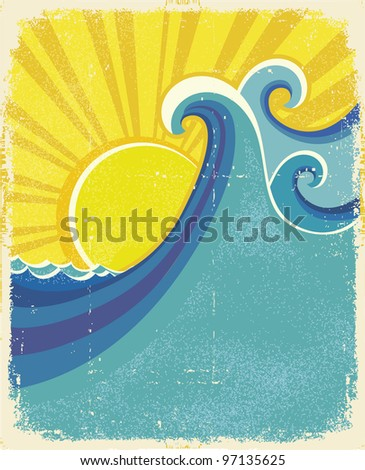 Sea waves poster. Vintage illustration of sea landscape on old paper texture.raster
