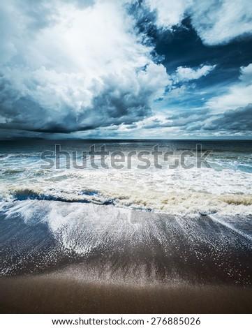 Sea weather. Tropical hurricane cyclone - stock photo