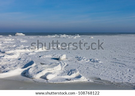 Sea winter with ice, north - stock photo