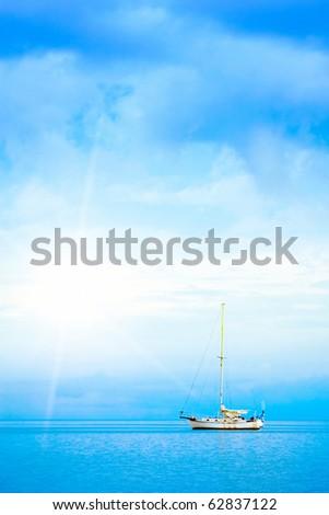 Sea yacht - stock photo