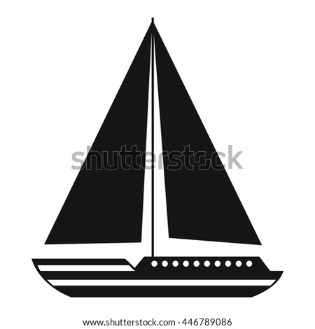 Sea yacht icon in simple style isolated on white background. Sea transport symbol - stock photo