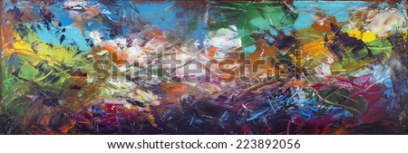 Seabed abstract panorama with the sunk ships  horizontal panel. Handmade painted acrylic art on canvas - stock photo