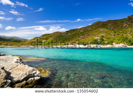 Seaboard way through Desert of Agriates to plage of Saleccia, Corsica, France - stock photo