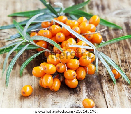 Seabuckthorn Berries on Wooden Background - stock photo