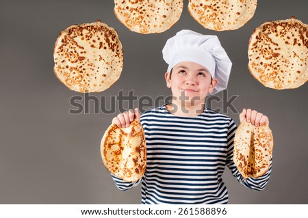 Seacook with pancakes - stock photo