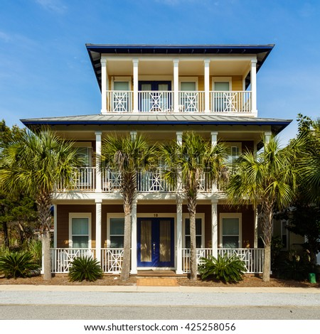 Seacrest Beach, FL USA - March 29, 2016: Beautiful vacation home in the North Florida panhandle coastal community.