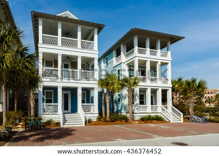 Seacrest Beach, FL USA - March 29, 2016: Beautiful vacation homes in the North Florida panhandle coastal community.