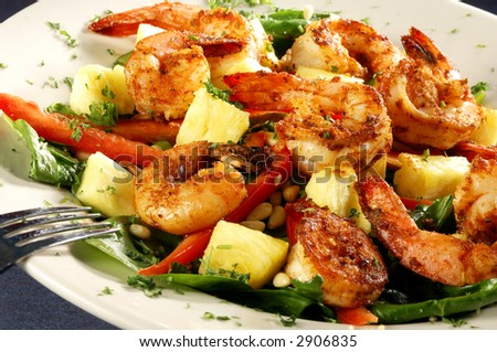 Seafood Blackened Shrimp - stock photo