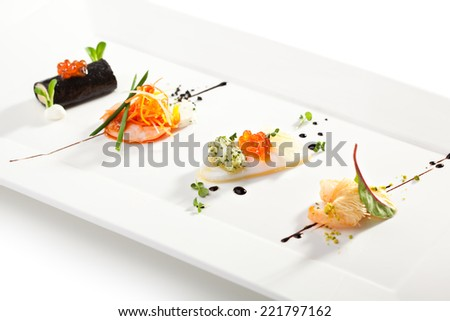 Seafood Canapes - Crabmeat, Shrimps and Squid - stock photo