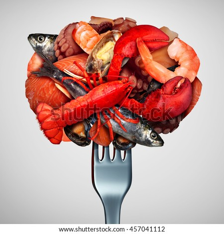Seafood concept as a group of shellfish crustacean and fish  grouped together on a fork as a fresh meal from the ocean as lobster steamed clams mussels shrimp octopus and sardines. - stock photo