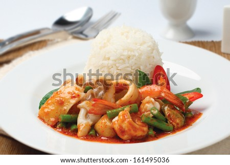 Seafood Curry with Rice, Thai food - stock photo