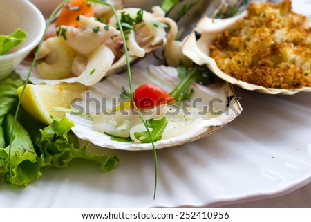 Seafood entrees - stock photo