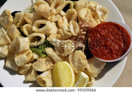 Seafood - Fried Calamari. Deep-fried Squid Dressed with Salad Leaves and Lemon. - stock photo