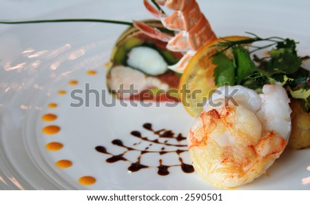 Seafood gourmet entree or dish - stock photo