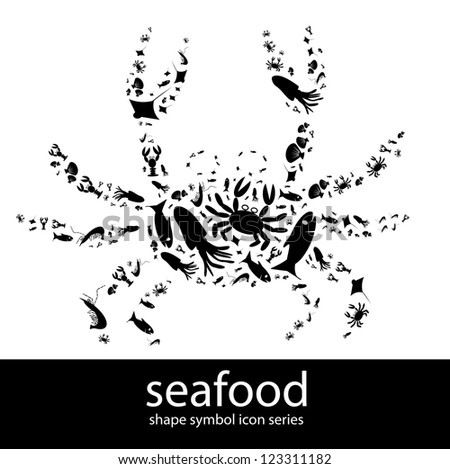 Seafood icon symbols composed in the shape of a crab - stock photo