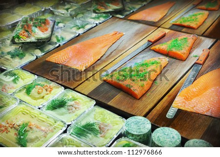 Seafood market - stock photo