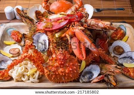 Seafood mix platter close up - stock photo