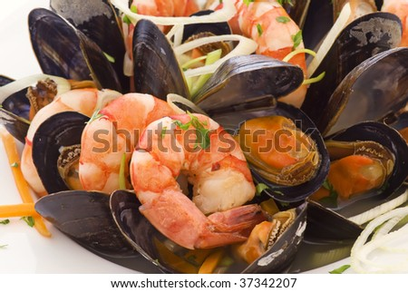 Seafood on a Cup - stock photo