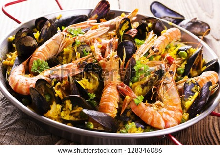 seafood paella - stock photo