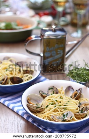 Seafood pasta - stock photo