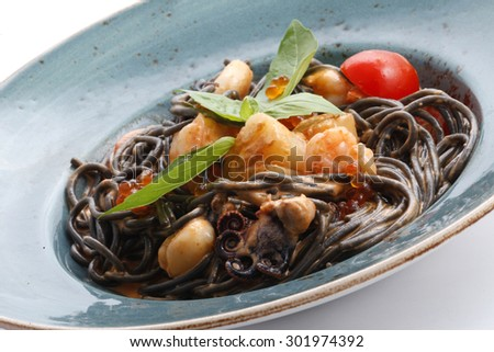 Seafood pasta with octopus, shrimps