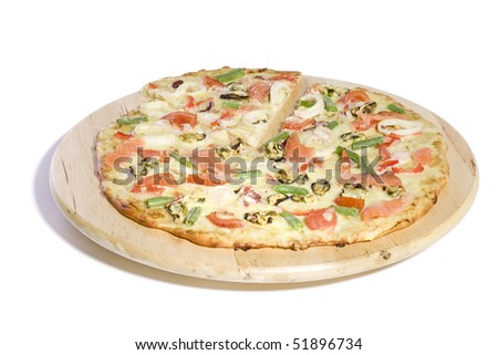 Seafood pizza on white ground - stock photo