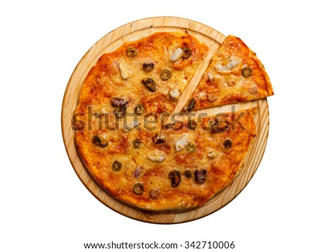 Seafood pizza with shrimps, mussels and olives. Isolated on white.