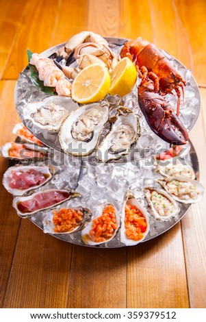 Seafood platter - stock photo