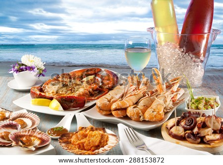 Seafood restaurant to the sea - stock photo