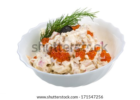 Seafood salad with red caviar