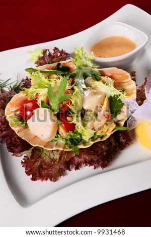 Seafood salad with vegetable on white square plate