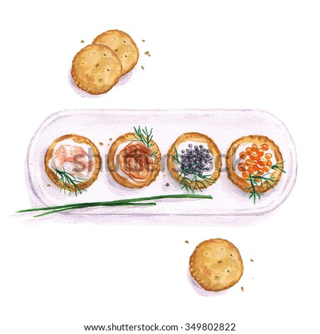 Seafood snacks  - Watercolor Food Collection - stock photo