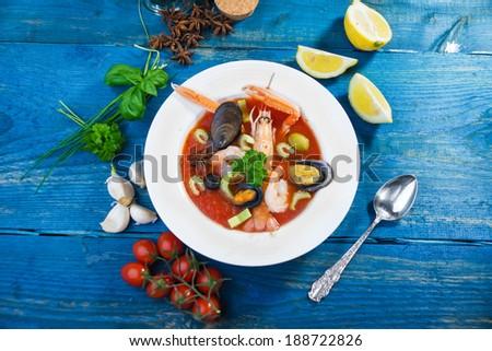 Seafood soup  - stock photo