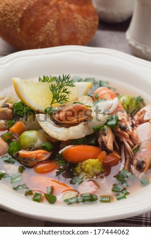 Seafood soup with shrimps, mussells and vegetable