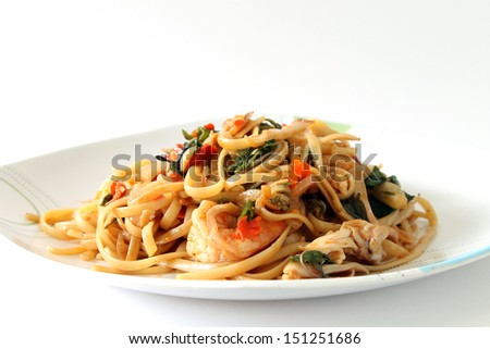 seafood spaghetti isolated on white background