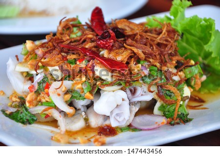 Seafood Spicy Salad , (Thai food) - stock photo