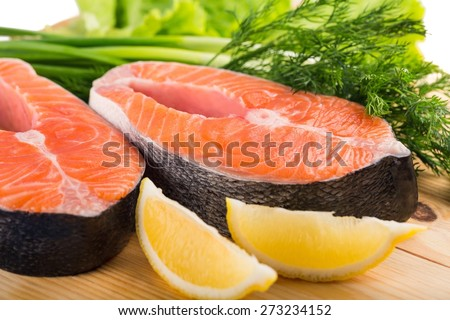 Seafood, steak, fish. - stock photo