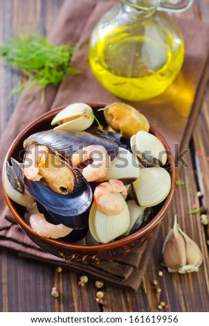 seafood such as mussels, shrimps and prawns