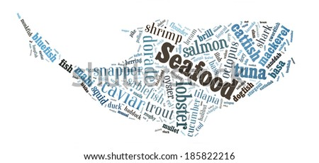 Seafood word cloud in shape of whale - stock photo