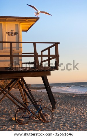 Seagull landing on lifeguard tower at Laguna Beach during sunset with bicycle in foreground - stock photo
