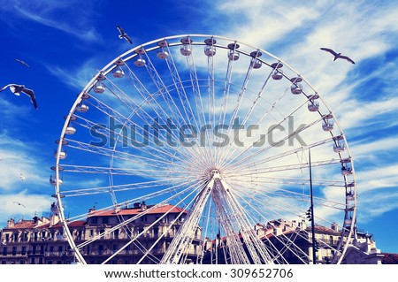 seagulls and a Ferris wheel at the Old Port of Marseille, France, with a filter effect