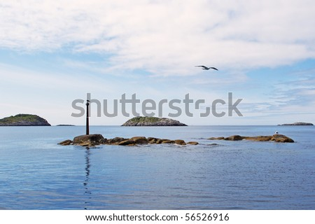 Seagulls on a stone in the Norwegian sea - stock photo