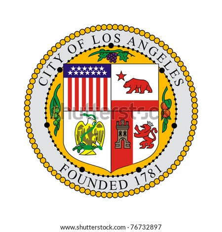 Seal of American city of Los Anglese, California, isolated on white background. - stock photo