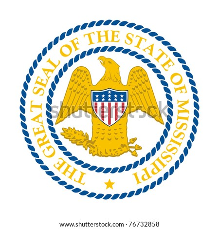 Seal of American state of Mississippi; isolated on white background.