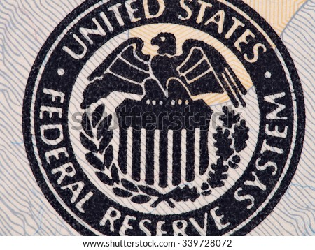 Seal of the Federal Reserve System on the us  20 dollar bill macro, united states money closeup - stock photo