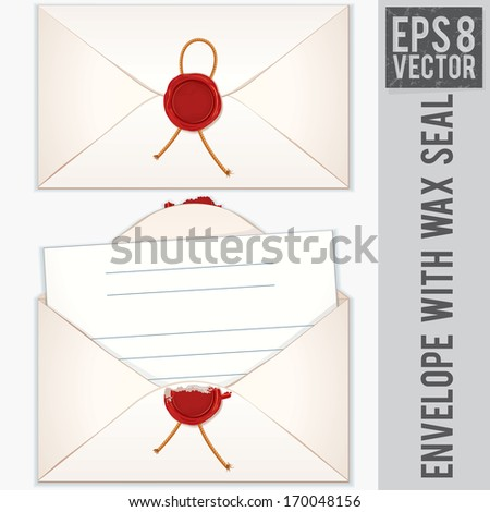Sealed and Opened Envelope with Blank Letter. Ready for Your Text and Design.