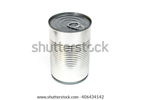 sealed easy open lid metal cans isolated on white background - stock photo