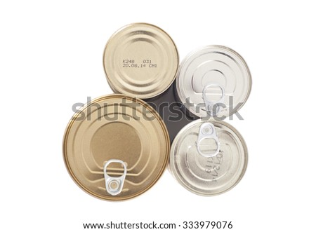 sealed metal cans isolated on white background - stock photo