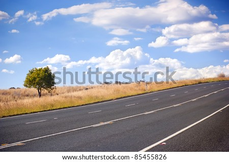 Sealed road in the country with fields and a tree under blue sky - stock photo